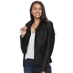 Juniors' Pink Envelope Faux-Leather Jacket
