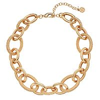 Dana Buchman Textured & Polished Oval Link Chunky Necklace