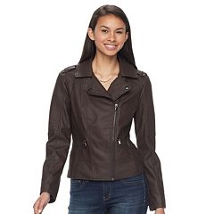 Juniors' Pink Envelope Asymmetrical Faux-Leather Jacket