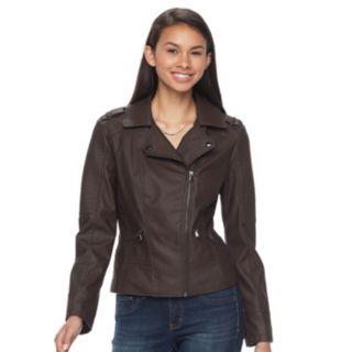 Juniors' Pink Envelope Asymmetrical Faux-Leather Jacket