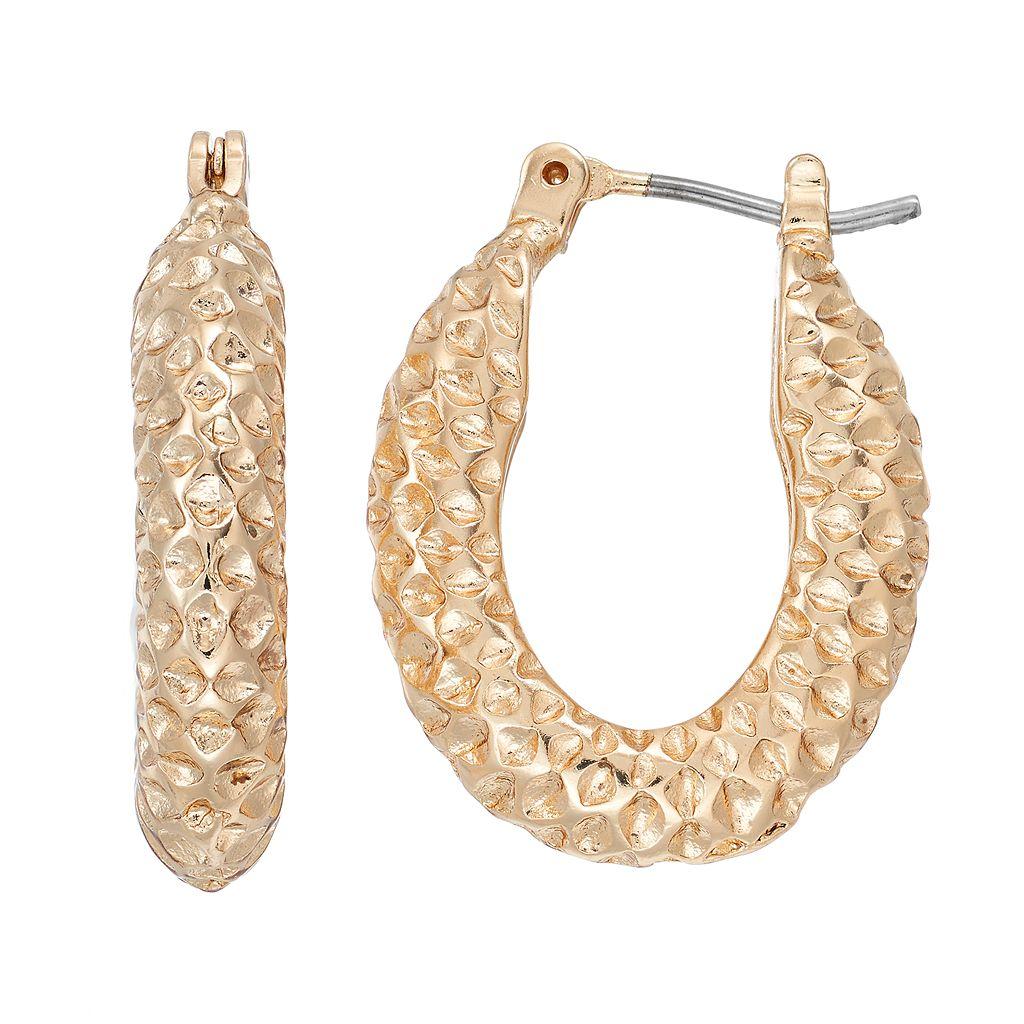 Dana Buchman Textured Nickel Free U Hoop Earrings