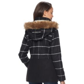 Juniors' Pink Envelope Faux-Fur Hood Anorak Jacket