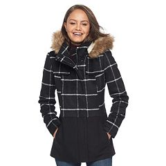 Juniors' Pink Envelope Faux-Fur Hood Anorak Jacket