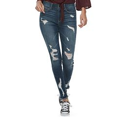 Juniors' Mudd® Destructed Skinny Jeans