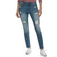Juniors' Mudd® Studded Ripped Ankle Skinny Jeans