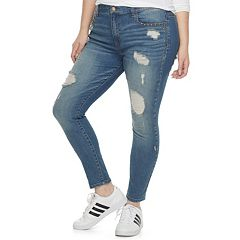 Plus Size Juniors' Mudd Studded Ripped Skinny Jeans