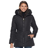 Juniors' Pink Envelope Faux-Fur Hood Puffer Jacket