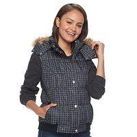 Juniors' Pink Envelope Faux-Fur Hood Puffer Vest