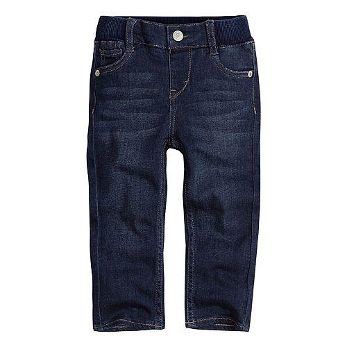 Baby Girl Levi's Ribbed Waistband Dark Wash Skinny Jeans
