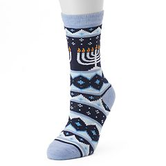 Women's Hanukkah Menorah Slipper Socks