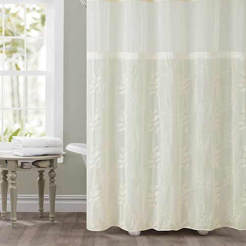 Hookless Palm Leaves Shower Curtain Liner