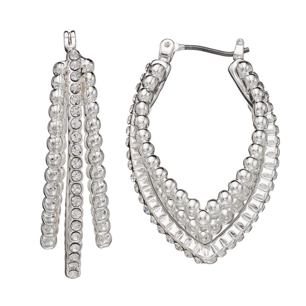 Dana Buchman Beaded Texture Nickel Free Pointed Triple Hoop Earrings