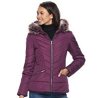 Juniors' Pink Envelope Faux-Fur Quilted Puffer Jacket