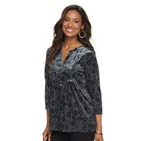 Women's Croft & Barrow® Print Pleated Velvet Henley Top