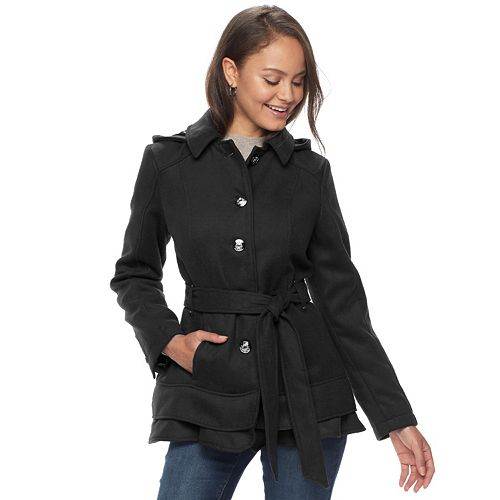 Juniors' Pink Envelope Belted Button Front Trench Coat