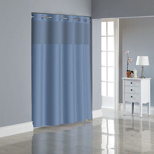 Hookless Herringbone Shower Curtain & Liner