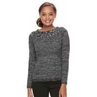 Petite Croft & Barrow® Cable Trim Sweater