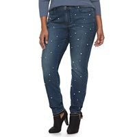 Plus Size Jennifer Lopez Simulated Pearl Skinny Jeans