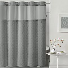 Hookless Mosaic Shower Curtain  Liner White Taupe Dark Gray Grey Curtains Kohl s