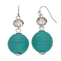 Beaded Thread Wrapped Ball Drop Earrings