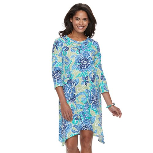 Women's Caribbean Joe Sharkbite Hem Printed Dress