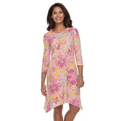 Women's Caribbean Joe Sharkbite Hem Printed Dress