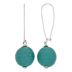 Thread Wrapped Ball Drop Earrings