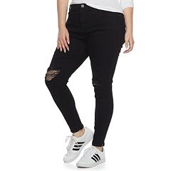 Plus Size Juniors' Mudd® Ripped Zip-Ankle Skinny Jeans