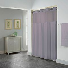 Hookless Shiny Herringbone Shower Curtain & Liner