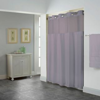 Hookless Shiny Herringbone Shower Curtain & Liner