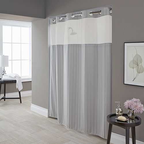 Hookless Park Avenue Stripe Shower Curtain & Liner
