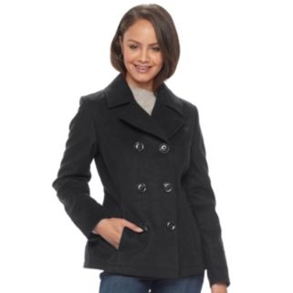 Juniors' Pink Envelope Double-Breasted Peacoat