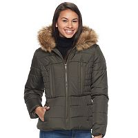 Juniors' Pink Envelope Faux-Fur Hood Zip-Up Puffer Jacket