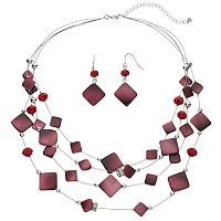 Red Square Multi Strand Illusion Necklace & Drop Earring Set