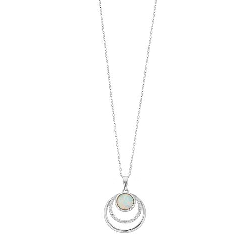 Radiant Gem Sterling Silver Lab-Created White Opal Triple Circle Pendant