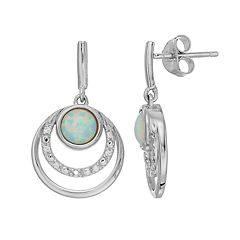 RADIANT GEM Lab Created Opal & Diamond Accent Triple Circle Earrings