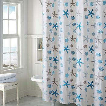EZ On By Hookless Seashell PEVA Shower Curtain