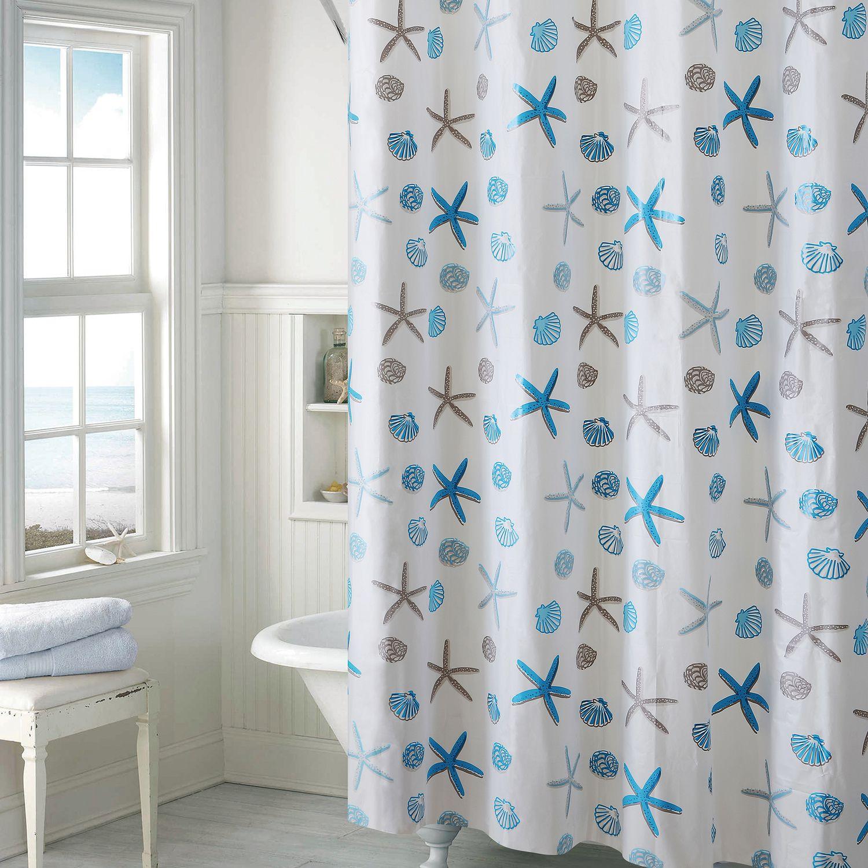 EZ On By Hookless Seashell PEVA Shower Curtain