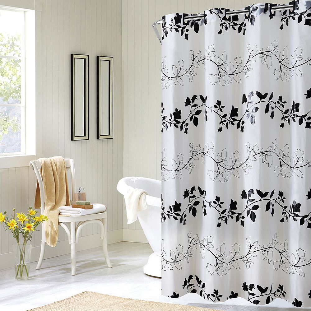 EZ On By Hookless Floral Vine PEVA Shower Curtain