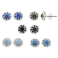 Blue Textured Nickel Free Round Halo Stud Earring Set