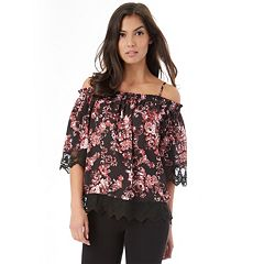 Juniors' IZ Byer Marilyn Lace Hem Off-the-Shoulder Top