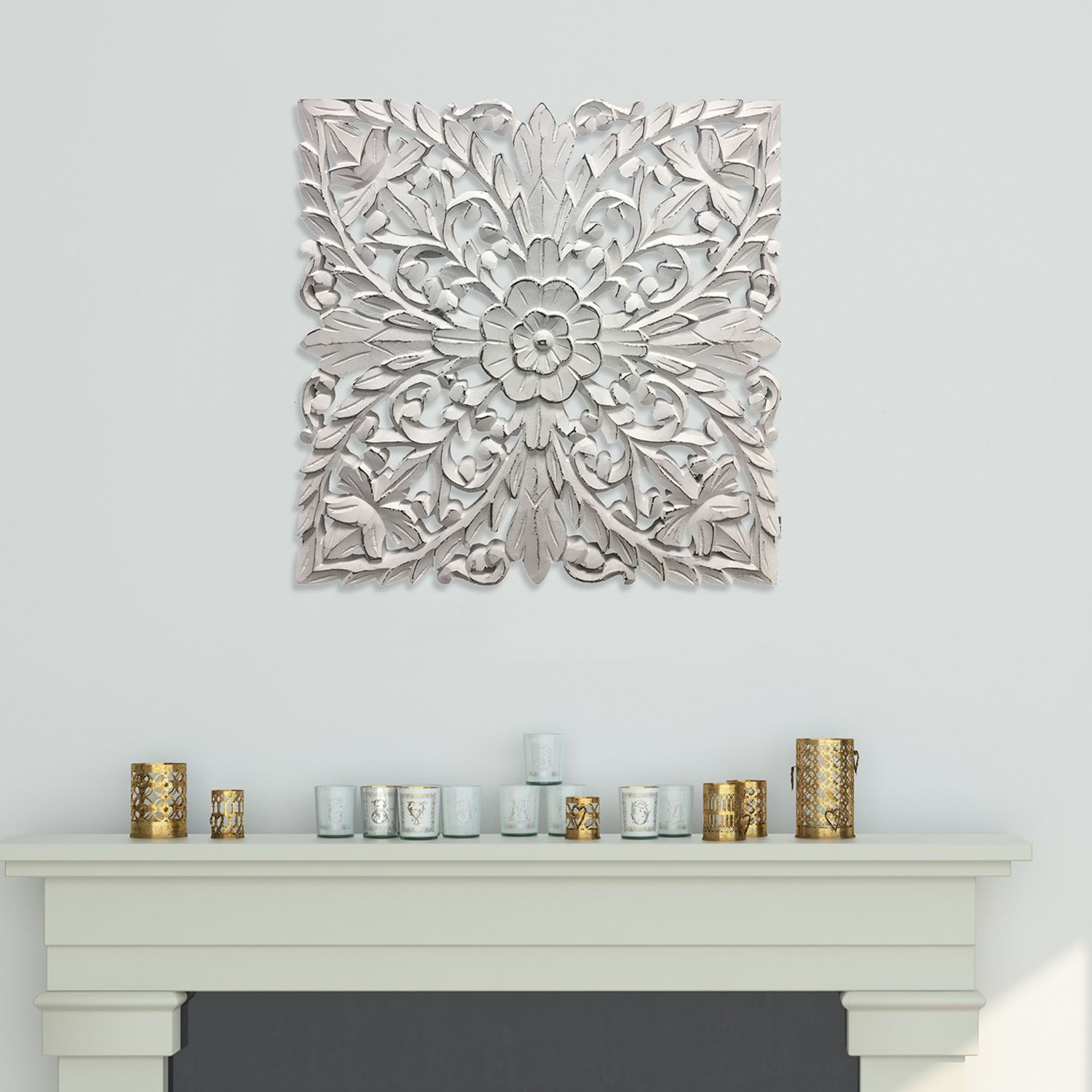 Great Distressed White Medallion Wall Decor