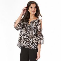 Juniors' IZ Byer Print Cold-Shoulder Top
