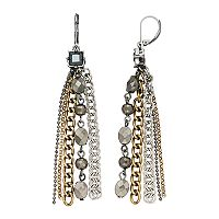 Simply Vera Vera Wang Nickel Free Tri Tone Fringe Drop Earrings