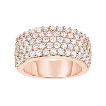 Rose Gold Tone Sterling Silver Cubic Zirconia Pave Ring