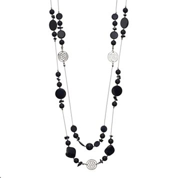 Long Black Beaded Double Strand Station Necklace