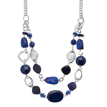 Blue Beaded Swag Necklace