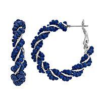 Blue Seed Bead Twisted Nickel Free Hoop Earrings