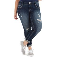 Juniors' Plus Size Amethyst Curvy Cuffed Skinny Jeans