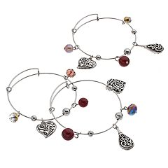 Antiqued Heart & Teardrop Charm Bangle Bracelet Set